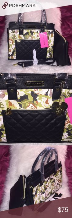 """💞👜Betsey Johnson satchel w/ medium pouch👜💞 Send me best offer!👍Brand new! Introduce very glam satchel collection by BetseyJohnson. Perfect for upcoming Spring/summer purse. Fully-function. Dual handle approx. 6"""" drop length. Top zip closure. Interior zip pocket, 2slide pockets. Extra medium size pouch cosmetic organizer. Detachable and adjustable strap. Exterior front zip pocket. Removable gold logo BJ Heart hang accessory. Perfect size, Can hold daily basic essential. Light weight and…"""