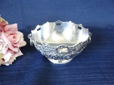 Vintage Silver Plate Ornate Linked Handled Bowl by SecondWindShop