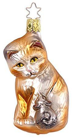 Katze mit Maus, Luxus Christbaumkugeln GLAS 9,5cm Handarbeit mundgeblasen handbemalt // Weihnachtskugeln Baumkugeln Baumschmuck lüstig Glücksbringer Geschenk Germany Inge-glas http://www.amazon.de/dp/B00OOSL2IS/ref=cm_sw_r_pi_dp_D8QOub1NX5XWZ
