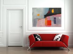 Modern Big Artwork Red Pink Black Grey Purple White Abstract Art Large Painting Contemporary Colorful Modern Design Urban Art 100 x 70 cm by AjdinovicStudio on Etsy