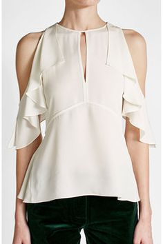 Ruffled Silk Crepe Top with Cut-Out Shoulders    Theory