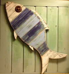 Fish Sign Wall Art Beach House Nautical Coastal by CastawaysHall