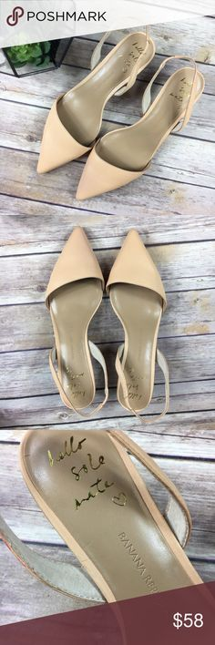 "BR Blush Point Toe Slingbacks NWOB! Brand new, no box. Banana Republic Point Toe Slingback Shoes in nude/peach/blush hue. Genuine leather. Stunning. Kitten Heels. Angled mule front, very flattering to the feet. Stacked wood heel, approximate heel height: 2.25"". Size 8.5. Runs true to size. No trades, open to offers! 25% discount on bundles! Banana Republic Shoes Heels"