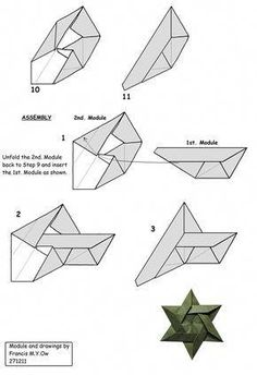 Francis Ow's Origami - diagrams - 6 Piece Star Of David Origami Yoda, Origami Star Box, Origami And Kirigami, Money Origami, Origami Paper Art, Origami Dragon, Origami Fish, Origami Butterfly, Origami Stars