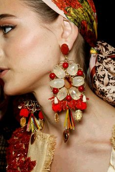 Dolce and Gabbana huge beaded earrings S/S 2013
