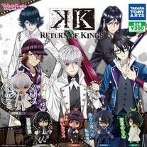 These are official K Return of Kings Deformed Mini Figure released in March 2016 in Japan.   Meant for fans of K who wanted to collect but unable to.  Selling in a set of 5.  Line-up: Isana Yashiro Yatogami Kuroh Yata Misaki Fushimi Saruhiko Hisui Nagare