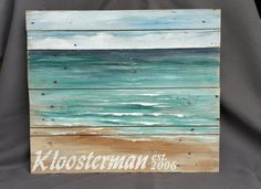 Personalized pallet beach wall art, upcycled Reclaimd, BEACH Hand painted  Seascape horizon, ocean, pallet, Distressed, shabby, Word art