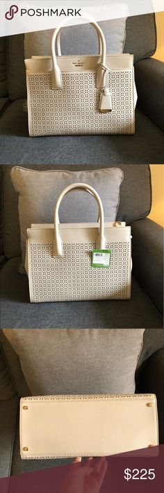 Kate Spade Candace Cameron Street Satchel This is a brand new with tags attached Kate Spade Crisp Linen Candace Cameron Street Perforated Satchel.   This bag comes with the Kate Spade dust bag and adjustable/removable crossbody strap.   PXRU6691 kate spade Bags Satchels