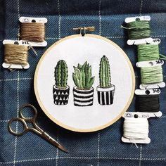 Hey guys I m an embroiderer over from r Embroidery was told that you guys might like my most recent project succulents Cactus Embroidery, Embroidery On Clothes, Embroidery Flowers Pattern, Simple Embroidery, Hand Embroidery Stitches, Modern Embroidery, Embroidery Hoop Art, Hand Embroidery Designs, Embroidery Techniques