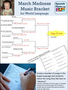 Get into March Madness in your classroom! Create a Bracket of songs and have students pick their favorite song to advance! Spanish Teacher, Spanish Classroom, Teaching Spanish, Spanish Songs, Spanish Lessons, Spanish 1, Classroom Language, Music Classroom, Classroom Ideas