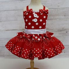 Red Minnie Mouse Dress First Birthday Outfit Girls Retro