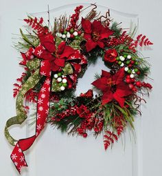 Natural Rustic Christmas Poinsettia Red and by HungUpOnWreaths,