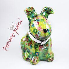 Pomme Pidou Hund sitzend hellgrün kleine Blumen