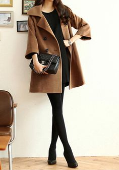 Camel Pea Coat - Features Hidden Pockets Coat