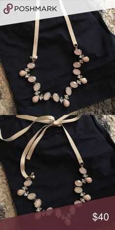 Jcrew necklace Beautiful j crew necklace with light pink and crystal gems. Tie closure. Never worn J. Crew Jewelry Necklaces