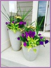 90 Stunning Spring Garden Ideas for Front Yard and Backyard Landscaping Green spike plant + yellow osteospermum thriller, Deep purple petunia filler w Lime green potato vine spiller ? Front Porch Flowers, Planters For Front Porch, Summer Front Porches, Front Porch Garden, Summer Porch, Porch Roof, Outdoor Flowers, Garden Planters, Cement Planters