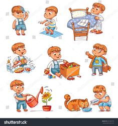 Daily Routine Child Combing His Hair Stock-Vektorgrafik (Lizenzfrei) 691565776 Daily Routine Activities, Activities For Kids, Daily Routine Kids, Baby Boy Clothing Sets, Cartoon Cartoon, Washing Dishes, Exercise For Kids, How To Make Bed, Quotes For Kids