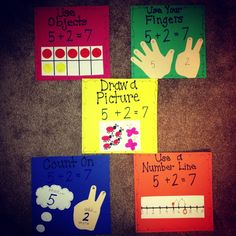 Kindergarten math strategies: great anchor charts for K and grade math. Could even make tip books for student work stations so these strategies are always close at hand as kids are learning them! Math Strategies, Math Resources, Math Activities, Addition Strategies, Subtraction Strategies, Addition Activities, Les Mathes, Kindergarten Fun, Kindergarten Addition