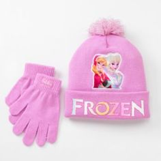 Disney Frozen Anna & Elsa Hat & Glove Set - Girls
