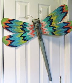 Table Leg Dragonfly Wall Art Colorful Hand by LucyDesignsonline, #Ikat #chevron