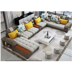 A 9 seater fabric sofa with extra soft cushions and 4 seperate mini seats. Note: Coffee table not included Product detail: Type:Living room sofa set Style:Sectional Sofa Corner Sofa Design, Sofa Bed Design, Living Room Sofa Design, Living Room Sets, Home Living Room, Living Room Designs, Sofa Furniture, Living Room Furniture, Modern Sofa Designs