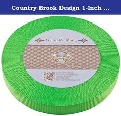 Country Brook Design 1-Inch Heavy Nylon Webbing, 50-Yard, Hot Lime Green. Product description: nylon webbing is a heavy-weight material and is stronger than polypropylene webbing. Nylon has a soft, lustrous feel. In addition, it is easy to care for as it is machine washable. (We recommend you only dry it on low heat.)there Is no limit to the possible uses of this soft but sturdy webbing. It is used to provide safety and resilience in a wide variety of applications. Country brook design…