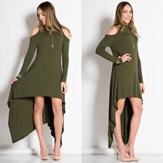 SALEAUDREY Cut-out Shoulder Dress Graceful high-low dress with mock neckline. Made out of flowy material. • Available in Olive • 95% Rayon, 5% Polyester • Made in U.S.A Wild Dreams Dresses High Low