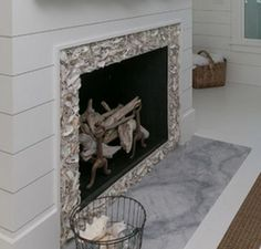 This tabby shell stucco fireplace is such a great addition to our ...