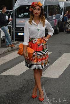 Fashion Street - Orange - bag, skirt, hair accesory , pumps . SpringSummer 15