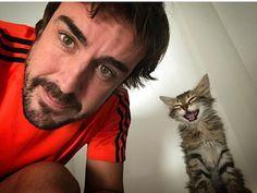Two-time Formula 1 World Champion driver Fernando Alonso is aging like a fine Spanish jamón plus he likes cats! Ricciardo F1, Daniel Ricciardo, F1 Racing, Drag Racing, Gp F1, F1 2017, F1 Drivers, For Your Eyes Only, Alonso