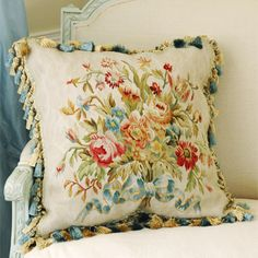 French Market Collection Creme Damask Aubusson Pillow