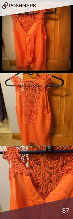 Orange Sleeveless Blouse Crochet Back Orange see through button up blouse, tie on bottom, pleated sides. Pretty design in crochet on back Deb Tops Blouses