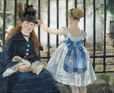 """Edouard Manet, """"Le Chemin de fer (The Railway),"""" 1873–74. Oil on canvas, 36¾ × 43⅞ inches. Gift of Horace Havemeyer in memory of his mother, Louisine W. Havemeyer, National Gallery of Art, Washington, D.C."""