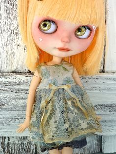 Blythe doll dress  -embroidered blue flowers + antique lace -grungy chic outfit OOAK tea stained