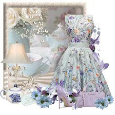 """* Butterfly Tea Dress *"" by hrfost1210 on Polyvore"