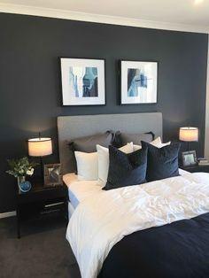 13 Cool Gray Bedroom Ideas to Your Bedroom monochromatic bedroom g. 13 Cool Gray Bedroom Ideas to Your Bedroom monochromatic bedroom gray, repose gray be Dark Gray Bedroom, Blue Master Bedroom, Master Bedroom Design, Master Bedrooms, Grey Bedrooms, Design Bathroom, Bathroom Colors, Bedroom Designs, Paint Bathroom