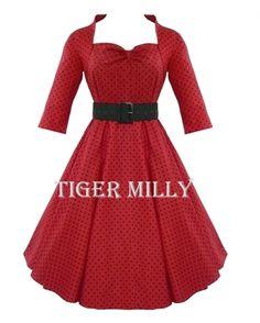 Hell Bunny 50's Rockabilly Momo Vintage Swing Dress Red
