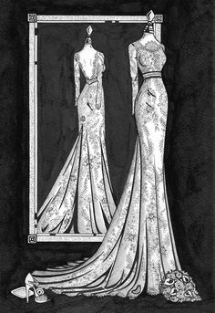 Bespoke_fashion_illustration_of_a_Mirror_View_by_Wedding_Dress_Ink Source by marinasamirfahmy dresses drawing Wedding Dress Illustrations, Wedding Dress Sketches, Wedding Dress Styles, Fashion Drawing Dresses, Fashion Illustration Dresses, Dress Fashion, Dress Design Drawing, Dress Drawing, Fashion Design Drawings