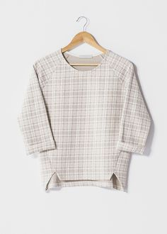 """Beige 3/4 length sleeve boxy jacquard top. Material: 47% Cotton 47% Polyester 6% Elastane.  Model wears UK size S and her height is 5'8"""" - £31.99 at www.froww.com"""