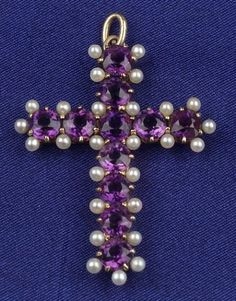 Antique 14kt Gold, Amethyst, and Seed Pearl Cross Pendant, prong-set with eleven circular-cut amethysts, seed pearl highlights.