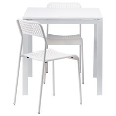 IKEA - MELLTORP / ADDE, Table and 2 chairs, The melamine table top is moisture resistant, stain resistant and easy to keep clean.Seats 4.You can stack the chairs, so they take less space when you're not using them.