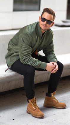 Mens military inspired style, with bomber jacket!