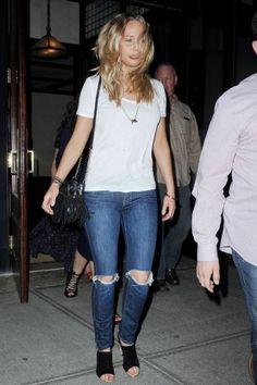 Jennifer Lawrence wearing Diane von Furstenberg Disco Bucket Bag and Gianvito Rossi Halter-Strap Sandals