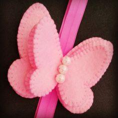 Headband, felt butterfly