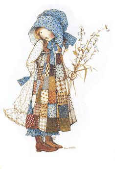 I wonder how many remember her  I had holly hobbie clothes and stuff when I was little.  Love this dress.  reminds me of a patch quilt...