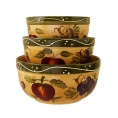 KITCHEN BOWLS, MIXING BOWLS TUSCANY FRUIT DECOR, 8.5X8.5X4.2DEEP(25.5in diameter)LARGE BOWL  7x7x3.5deep(21.5diameter)MEDIUM BOWL  6.2x6.2x3.5deep(19.5in diameter)SMALL BOWL, #Kitchen, #Mixing Bowls, $47.62 Fruit Kitchen Decor, Tuscan Decorating, Mixing Bowls, Baking Tools, Ceramic Bowls, Bowl Set, Tuscany, Serving Bowls, Decorative Bowls