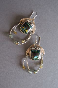 "Earrings --""Moon Dance""----pure silver, pmc, dichroic glass on Etsy, $95.00"