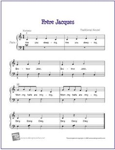 Frère Jacques | Free Sheet Music for Easy Piano - http://makingmusicfun.net/htm/f_printit_free_printable_sheet_music/frere-jacque-piano-solo.htm