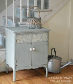 A vintage record cabinet gets a before and after in Annie Sloan chalk paint, Duck Egg blue and Coco.