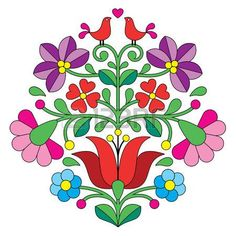 Folk Embroidery Design Kalocsai embroidery - Hungarian floral folk pattern with birds - Colorful Hungarian embroidery pattern from the famous region of the city Kalocsa. Hungarian Embroidery, Folk Embroidery, Brazilian Embroidery, Learn Embroidery, Floral Embroidery, Chain Stitch Embroidery, Embroidery Stitches, Machine Embroidery, Stencil
